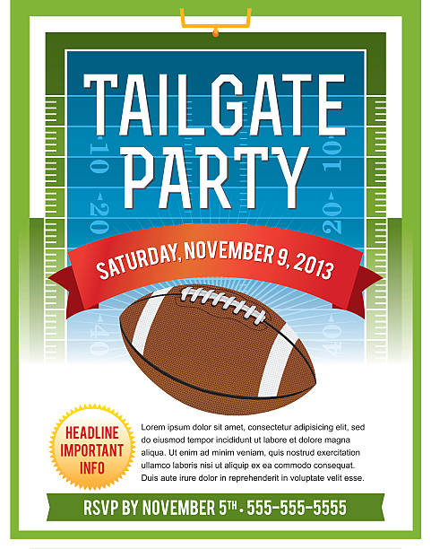Vector illustration of tailgate flyer A vector flyer design perfect for tailgate parties, football invites, etc. EPS 10. File contains transparencies. Text is layered for easy removal and customizing.  ncaa college football stock illustrations