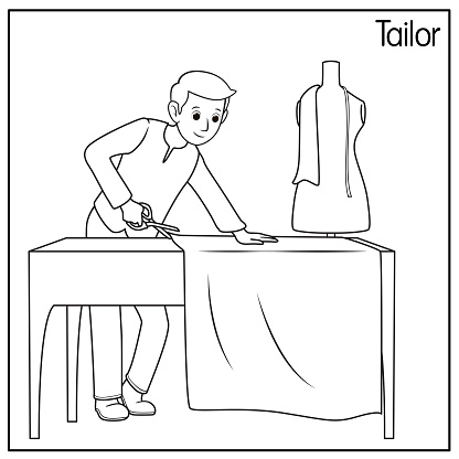 Vector illustration of tailor isolated on white background. Jobs and occupations concept. Cartoon characters. Education and school kids coloring page, printable, activity, worksheet, flashcard.