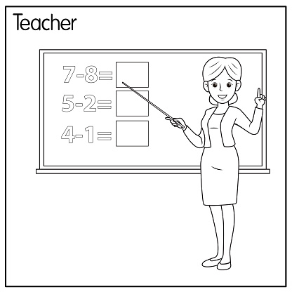 Vector illustration of teacher isolated on white background. Jobs and occupations concept. Cartoon characters. Education and school kids coloring page, printable, activity, worksheet, flashcard.