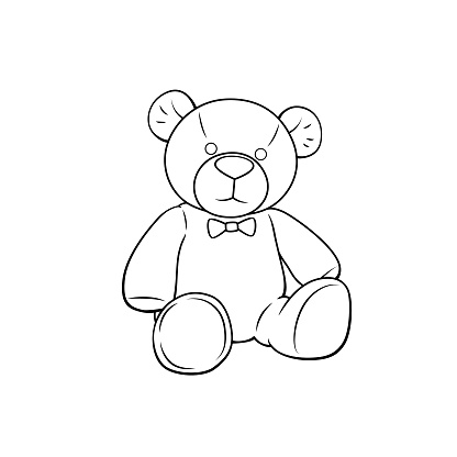 Vector illustration of teddy bear isolated on white background for kids coloring book.