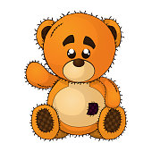 Vector illustration of a teddy bear on isolated white background.