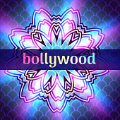 Vector illustration of template advertisement Bollywood banner on mandala round ornament background, cinema sign board