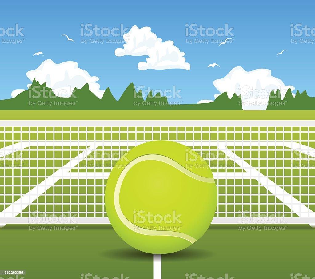 Vector illustration of Tennis ball and net vector art illustration