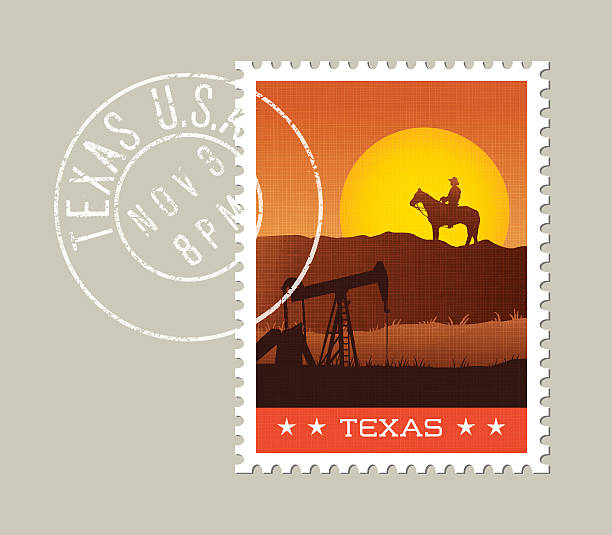 ilustraciones, imágenes clip art, dibujos animados e iconos de stock de vector illustration of texas sunset and scenic landscape. - postal worker
