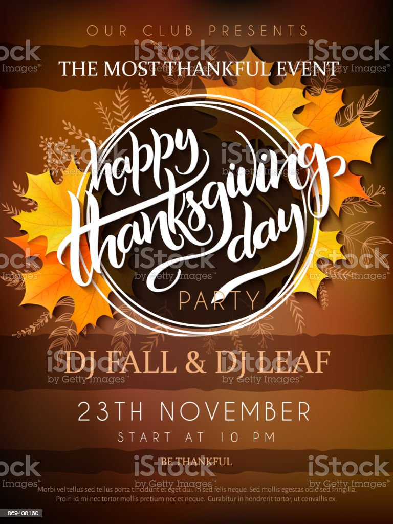 Vector illustration of thanksgiving party poster with hand lettering label - thanksgiving - with yellow autumn doodle leaves and realistic maple leaves - Grafika wektorowa royalty-free (Cytat - tekst)