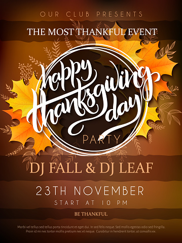 Vector Illustration Of Thanksgiving Party Poster With Hand Lettering Label Thanksgiving With Yellow Autumn Doodle Leaves And Realistic Maple Leaves - Stockowe grafiki wektorowe i więcej obrazów Cytat - tekst
