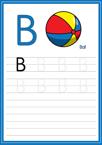 Vector illustration of the ball isolated on a white background. With the capital letter B for use as a teaching and learning media for children to recognize English letters Or for children to learn to write letters Used to learn at home and school.