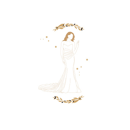 Vector  illustration of the beautiful bride wearing a nice bridal gown.Wedding invitations,Olive Branches background.
