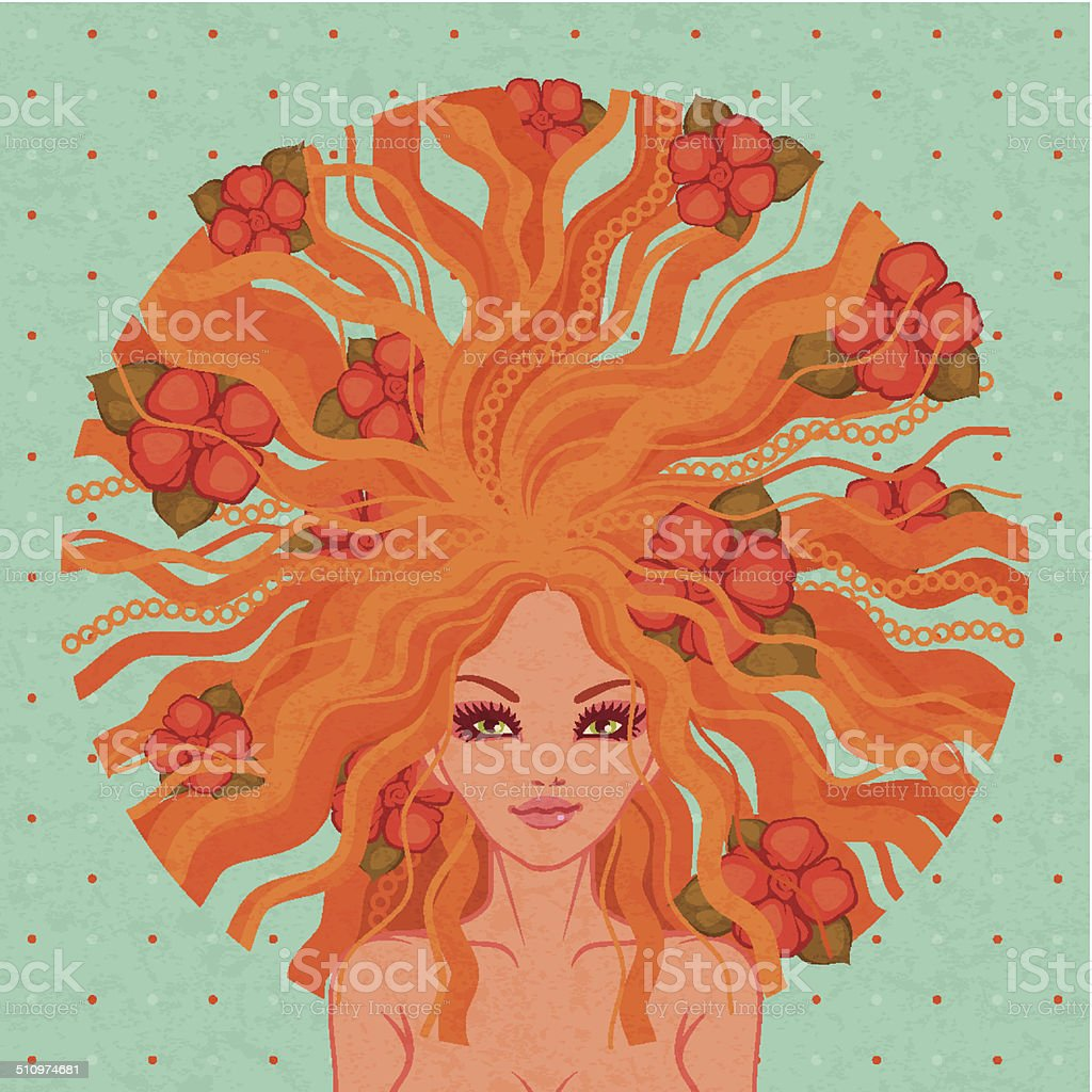 Vector illustration of the beautiful girl vector art illustration