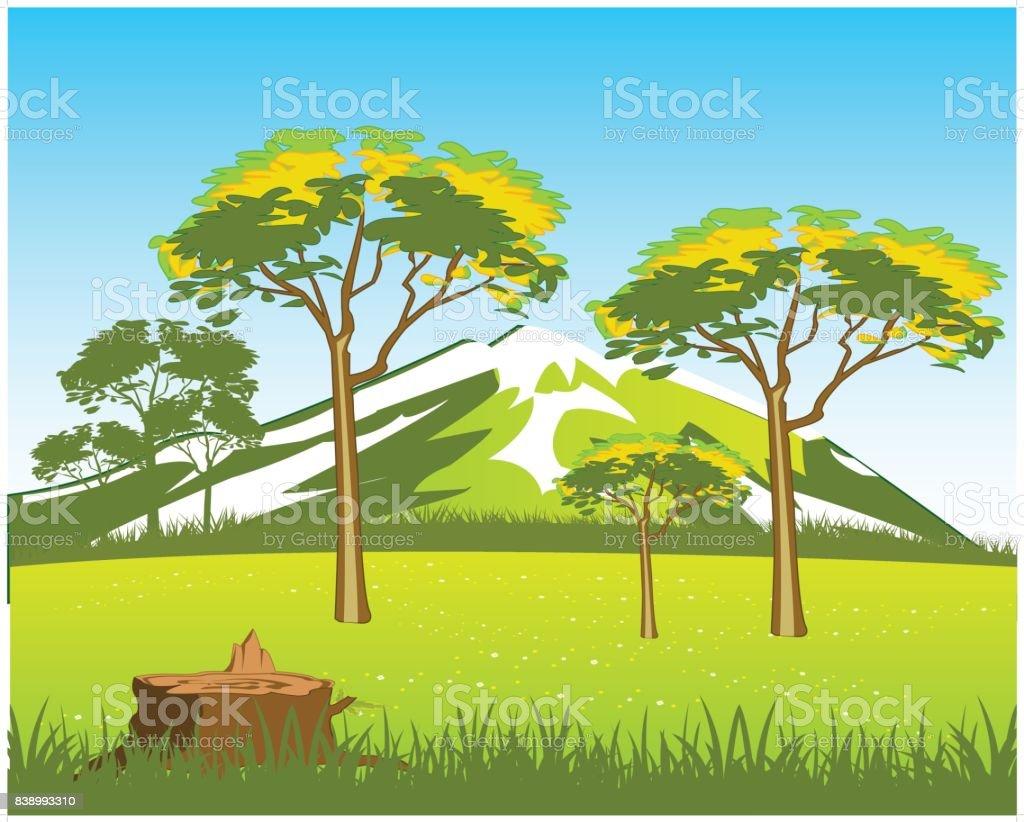 Vector illustration of the beautiful wild landscape vector art illustration