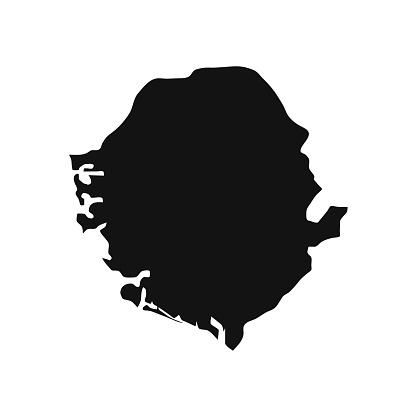 Vector Illustration of the Black Map of Sierra Leone on White Background