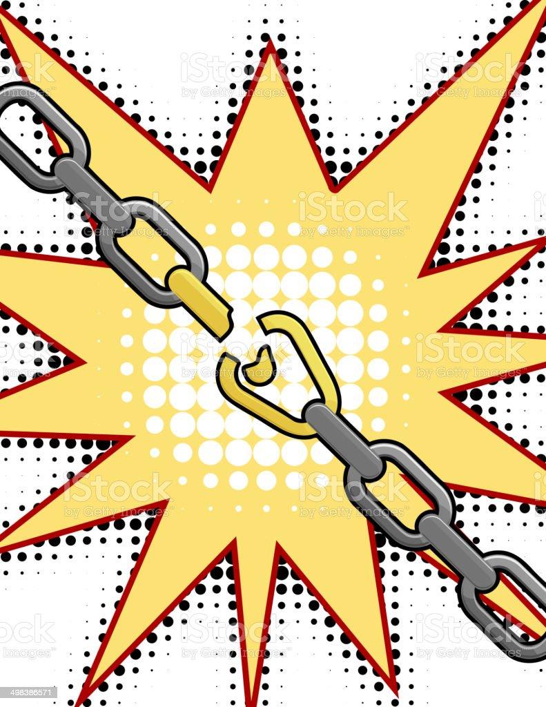 Vector illustration of the broken chain vector art illustration