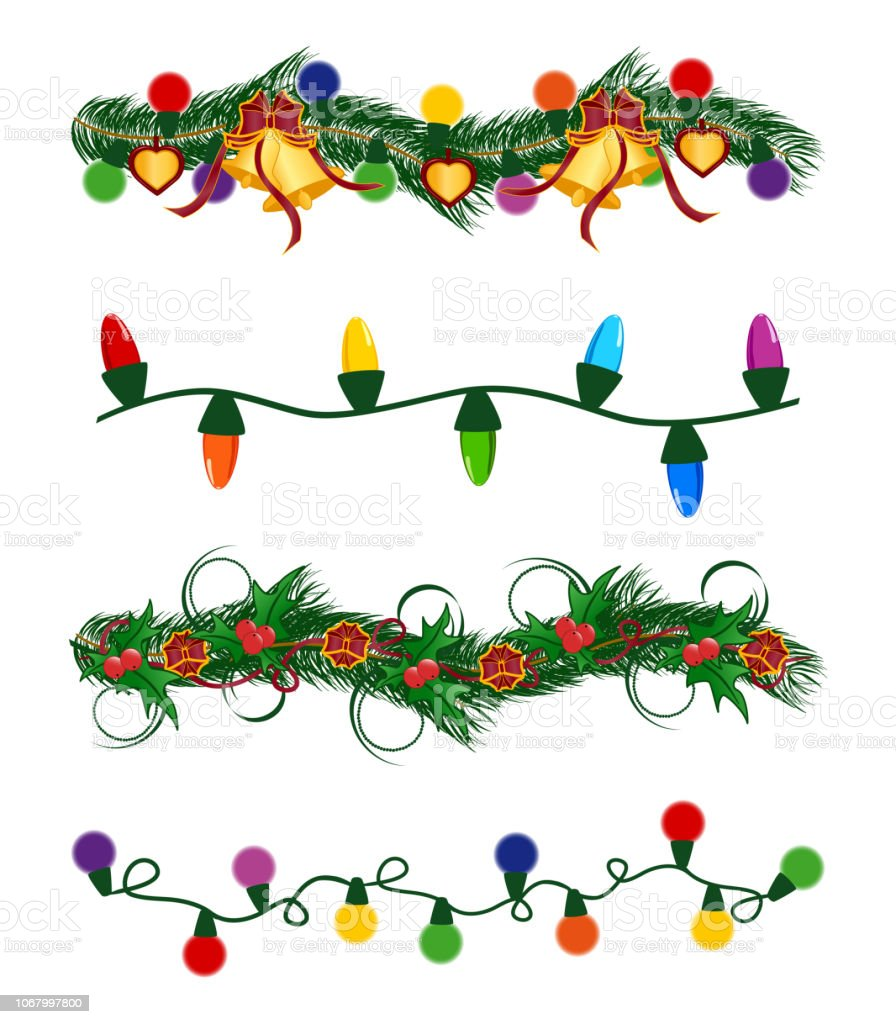 Vector Illustration Of The Christmas Garlands Set Stock Vector Art More Images Of Bell