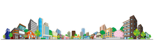 vector illustration of the cityscape - небольшой город stock illustrations