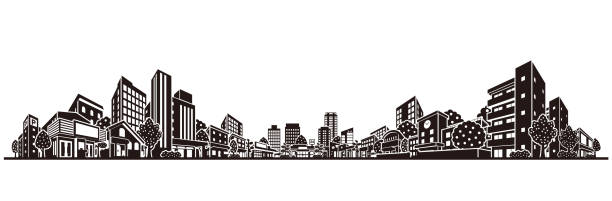 Vector illustration of the cityscape Vector illustration of the building town stock illustrations