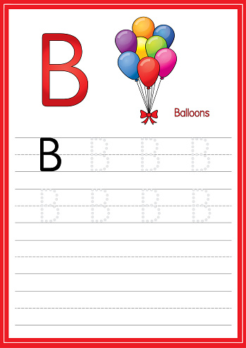 Vector illustration of the colorful balloon isolated on a white background. With the capital letter B for use as a teaching and learning media for children to recognize English letters Or for children to learn to write letters.