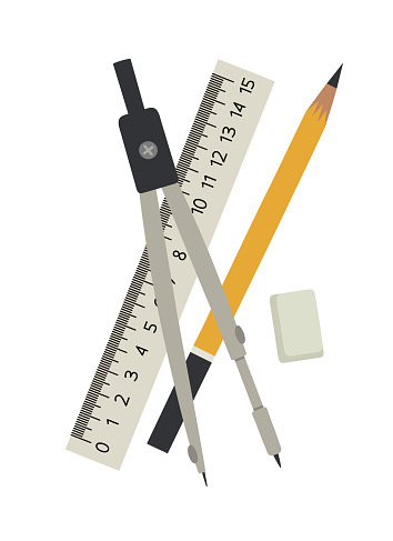 Vector illustration of the compass, ruler, eraser, and pencil.