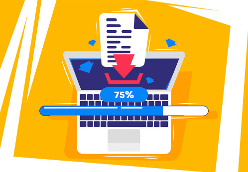 vector illustration of the concept of uploading a document to a laptop, top view
