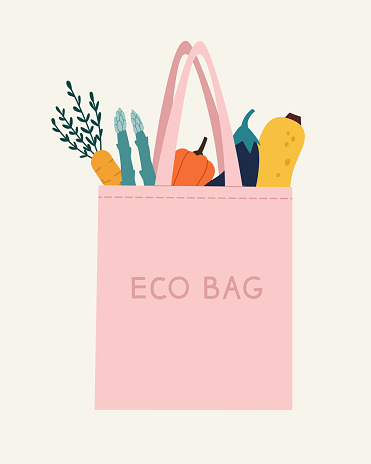 Vector illustration of the eco bag with vegetables: carrot, asparagus, sweet pepper, eggplant, and pumpkin.