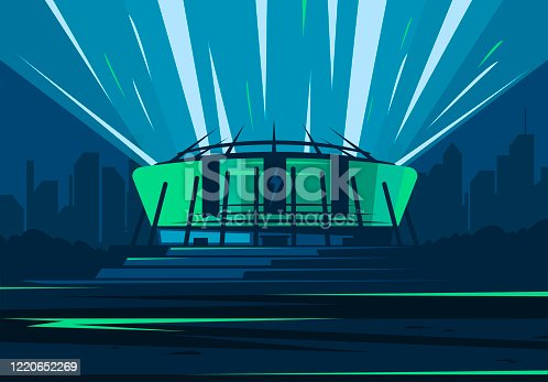 Vector illustration of the facade of a football stadium in the dark, against the background of the city silhouette