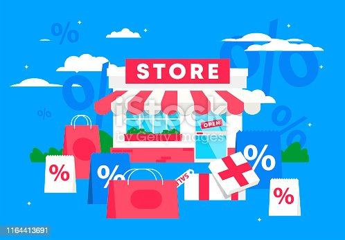 Vector illustration of the facade of the store, with shopping packages, discounts in the store