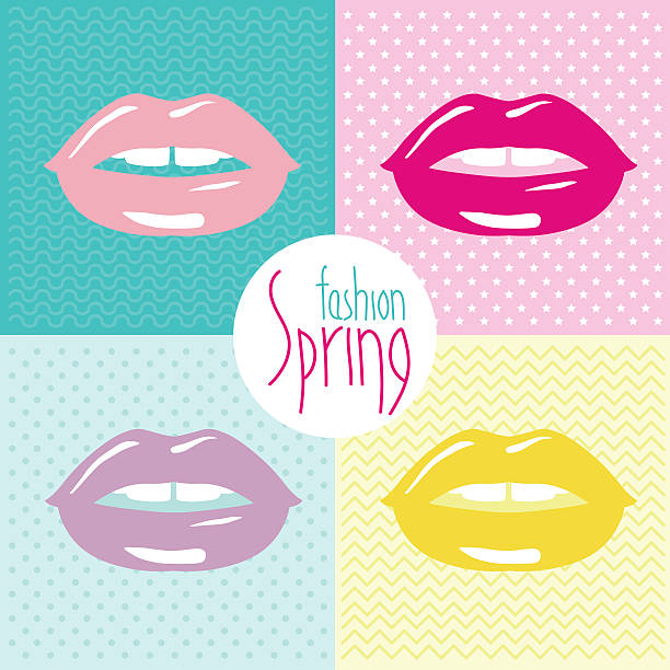 vector illustration of the fashion trends of spring make-up. colored lips. - spring fashion stock illustrations, clip art, cartoons, & icons