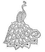 Vector illustration of the Firebird. Peacock
