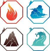 Set of elements (fire, air, land, water).