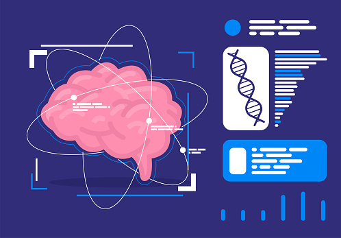 Vector illustration of the human brain with a futuristic design of elements, blocks of information with data on brain activity