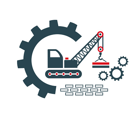 Vector illustration of the icon, logo of a crane, construction, loading.