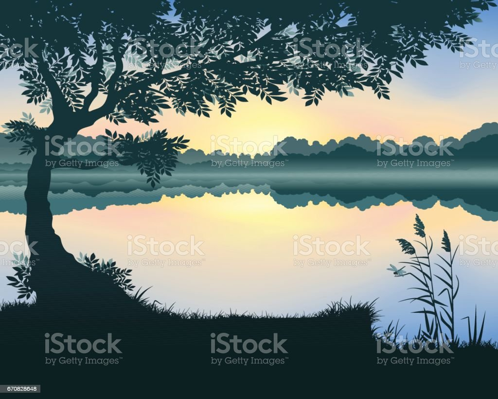 Vector illustration of the lake vector art illustration