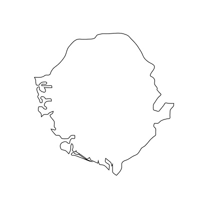 Vector Illustration of the Map of Sierra Leone on White Background