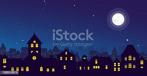 Vector illustration of the night town skyline with a full moon over urban houses rooftops in flat style