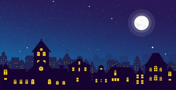 Vector illustration of the night town skyline with a full moon over urban houses rooftops in flat style. Vector illustration of the night town skyline with a full moon over urban houses rooftops in flat style night stock illustrations
