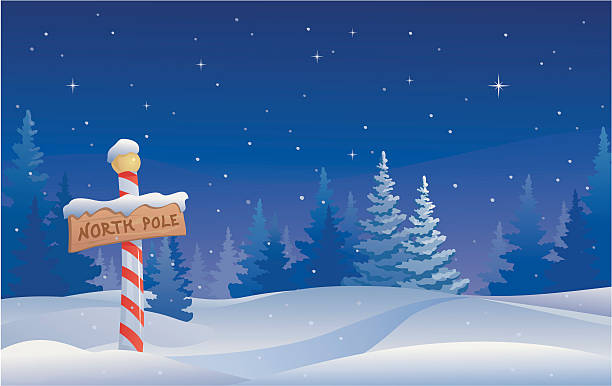 Vector illustration of the North Pole in Christmas decor
