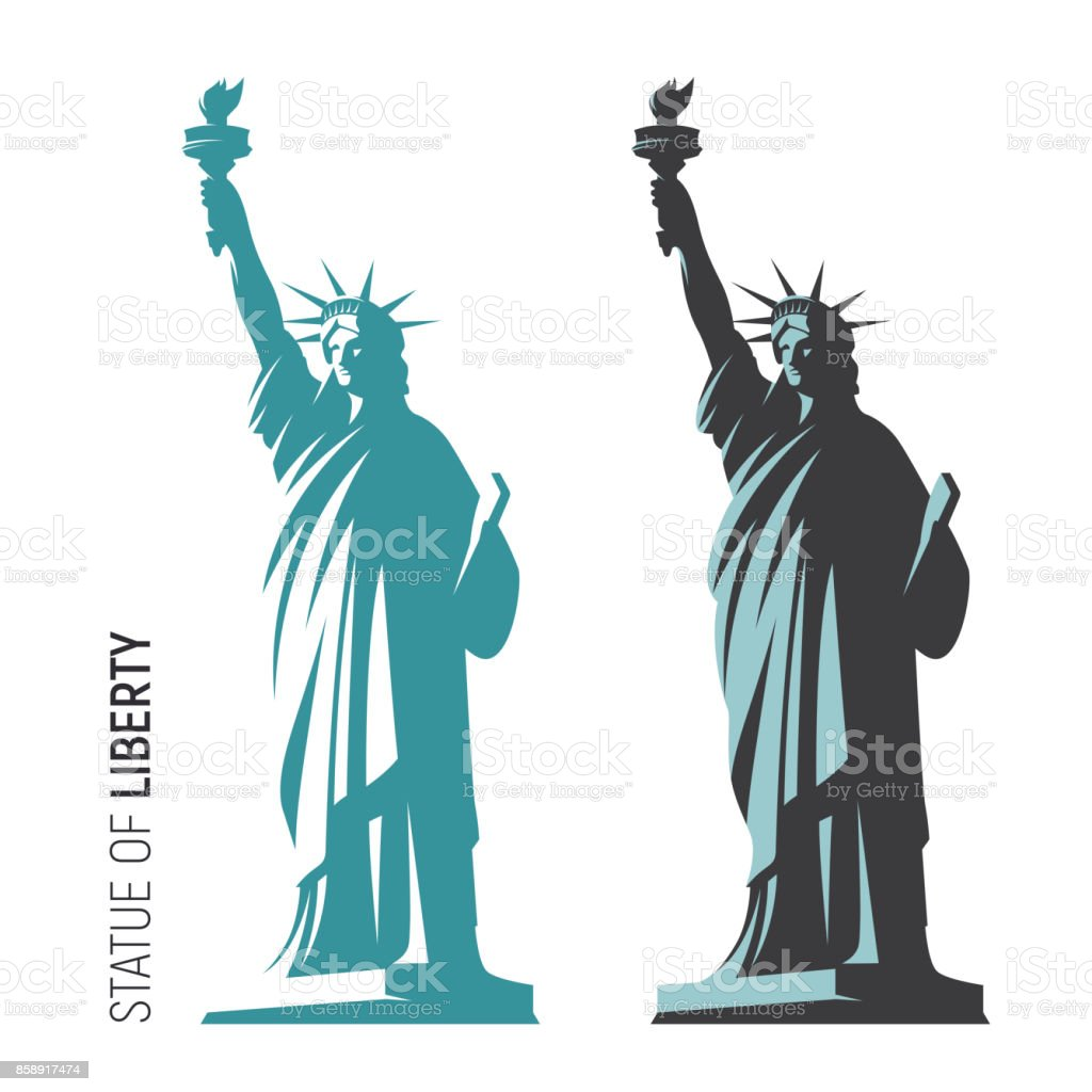 Vector illustration of the Statue of Liberty in New York City vector art illustration