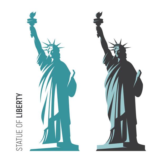 vektor-illustration von der freiheitsstatue in new york city - freiflächen stock-grafiken, -clipart, -cartoons und -symbole