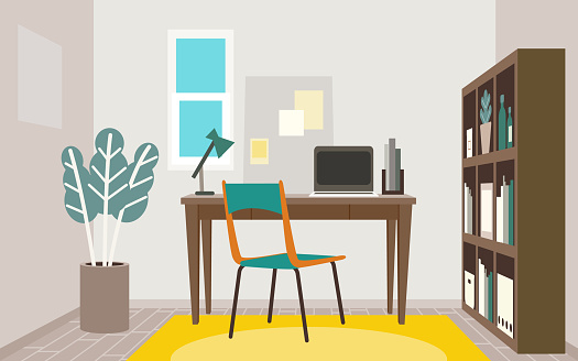Vector illustration of the study room furniture