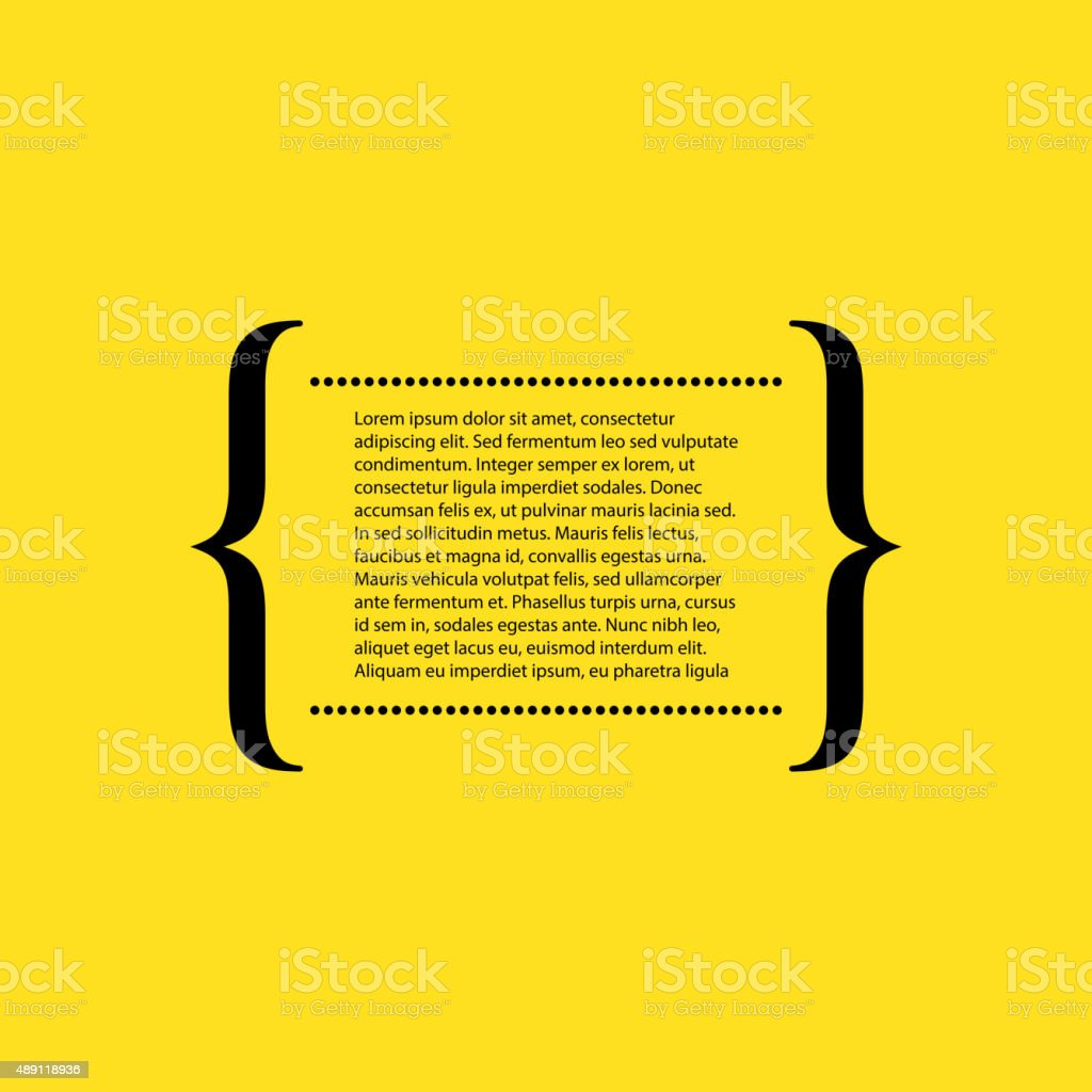 Vector illustration of the text in curly braces vector art illustration