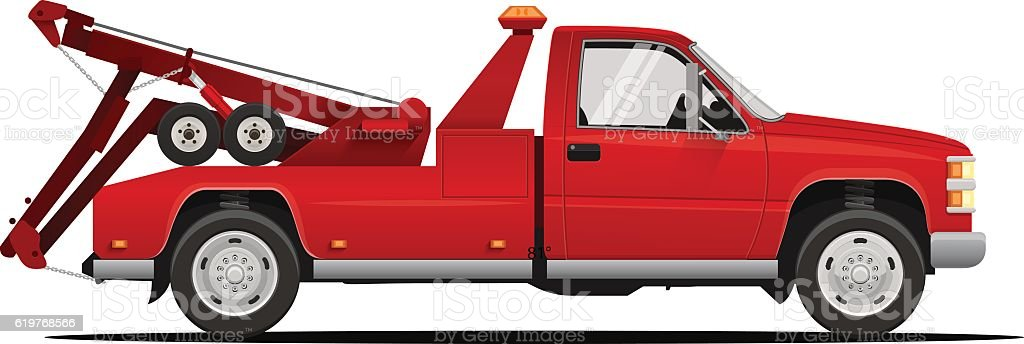 Vector Illustration of the Tow Truck vector art illustration
