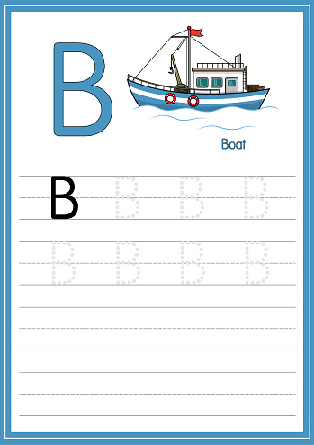 Vector illustration of the white boat isolated on a white background. With the capital letter B for use as a teaching and learning media for children to recognize English letters Or for children to learn to write letters Used to learn at home and school.