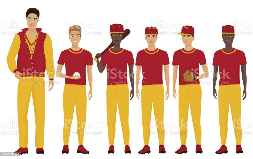 Vector illustration of the young baseball players team with coach trainer wearing the uniform. vector art illustration