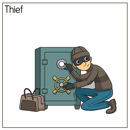 Vector illustration of thief isolated on white background. Jobs and occupations concept. Cartoon characters. Education and school kids coloring page, printable, activity, worksheet, flashcard.