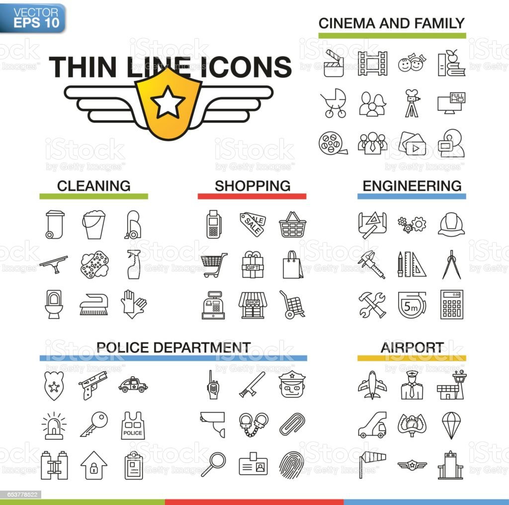 Vector Illustration Of Thin Line Icons For Cinema Family Cleaning