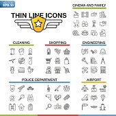 Vector illustration of thin line icons for cinema, family, cleaning, shopping, engineering, police department, airport. Linear symbols set on white background