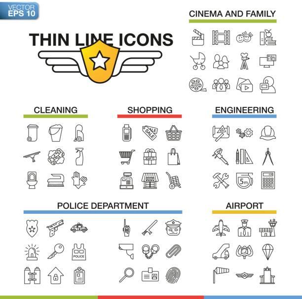 ilustraciones, imágenes clip art, dibujos animados e iconos de stock de ilustración vectorial de iconos de línea fina para cine, familia, limpieza, compras, ingeniería, departamento de policía, aeropuerto. símbolos lineales en fondo blanco. - infografías de industria