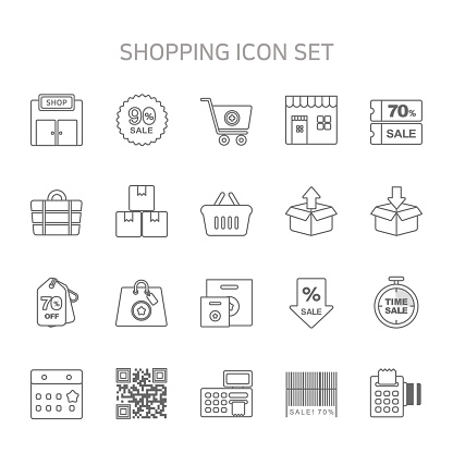 """""""Vector illustration of thin line icons for online shopping, sale, buy, shopping bag, shopping cart, store, supermarket, discount, coupon, Input, delete, calendar, Qr Code, bar code, calculator, cashier."""""""