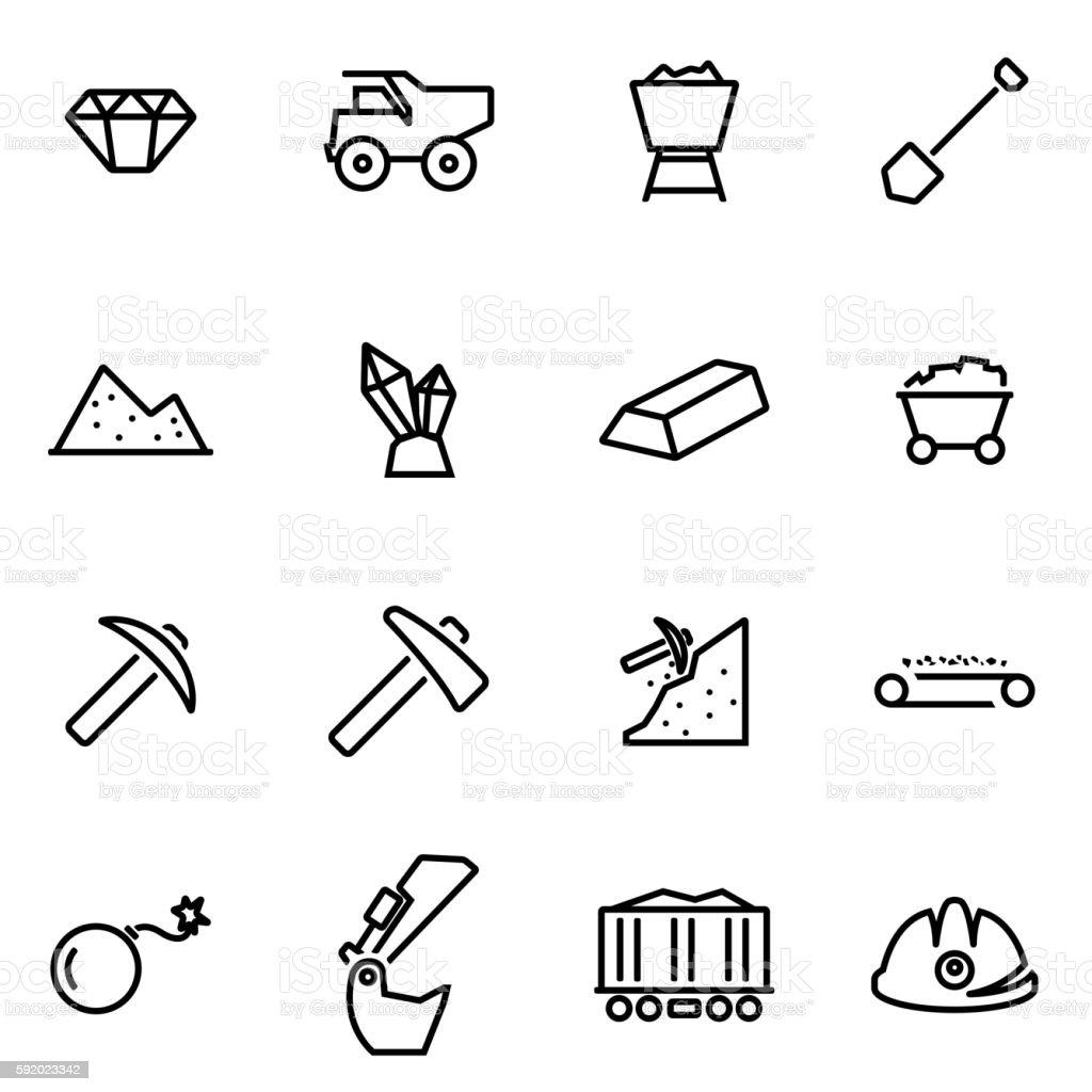 Vector illustration of thin line icons - mining vector art illustration