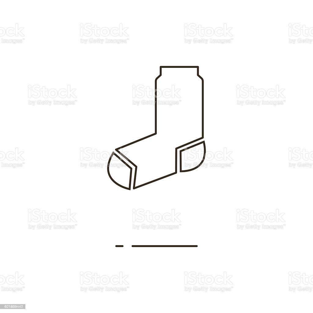 Vector illustration of thin line socks icon on white background vector art illustration