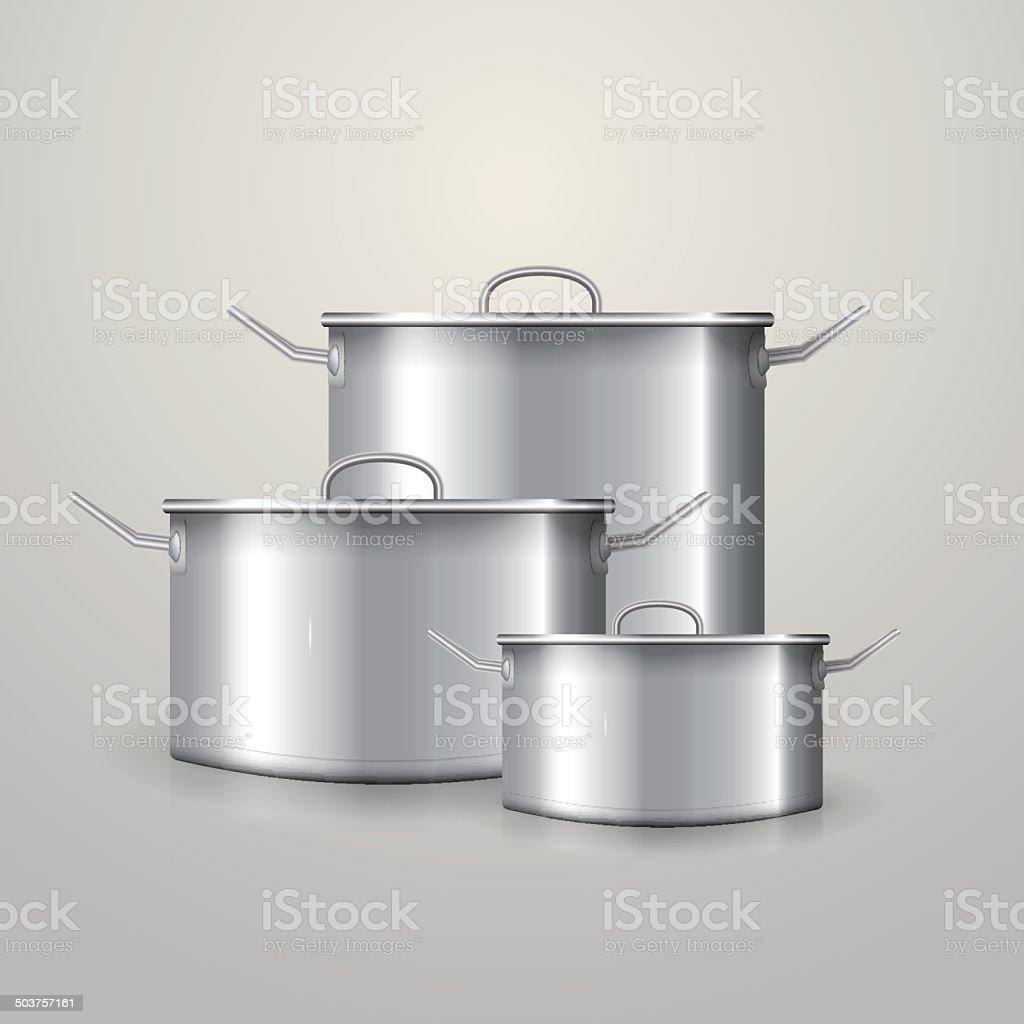 Vector illustration of three aluminum saucepans